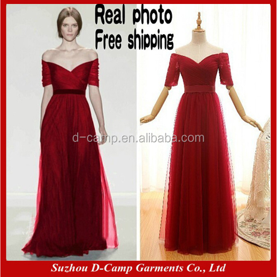BD001 Sexy off the shoulder short sleeves burgundy long bridesmaid dress patterns