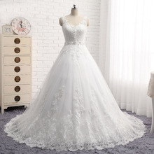 Real Pictures Lace Appliques Button Beaded Sqeuin Plus Size Wedding Dress