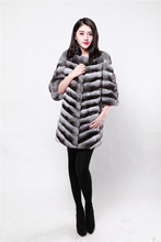 Knitted New chinchilla Fur Coat Women Quality Supplier