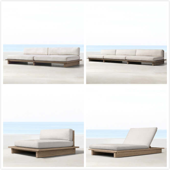 Outdoor furniture wooden furniture teak lounge bed