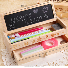 Multifunctional wooden stationery case double layer cute DIY creative wooden pencil case for boys and girls