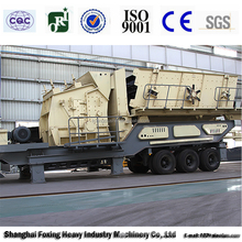 Mobile impact crusher for concrete, lime, coal etc
