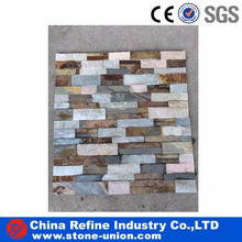 Natural slate grey brown mixed color stone wall slate cladding