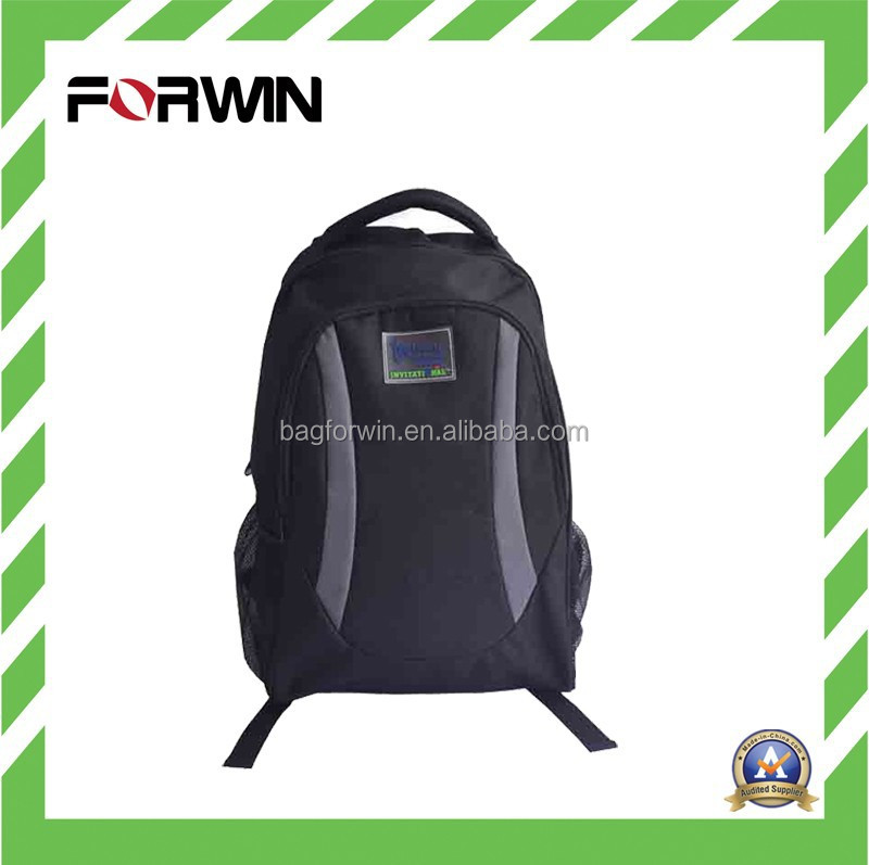 2016 Black 600d Polyester Cheap School Laptop Backpack