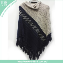 SC-125680 custom 100% acrylic fashion thermal unique tassel lady poncho shawl scarf