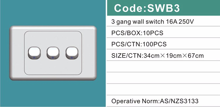 Ausrtalia SAA standard home modern16A 250V 5 gang 2 way switch