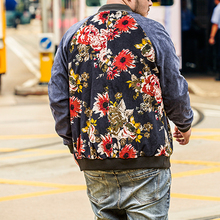 Plus Size Mens Clothing Man Vintage Flowers Splicing Baseball Custom Varsity Jackets