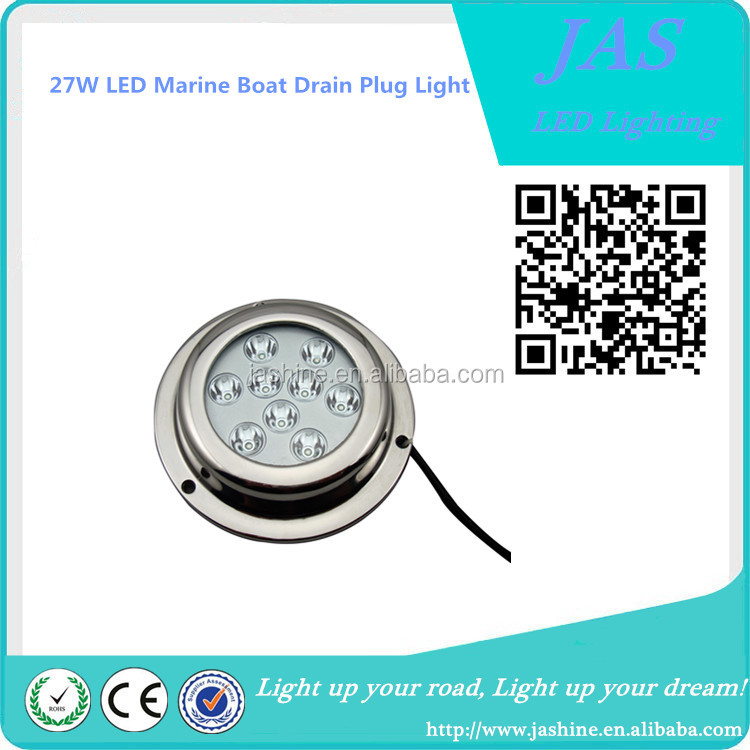 Marine Part 1800LM 27W high lumen LED underwater boat/yacht/fishing light boat drain plug light