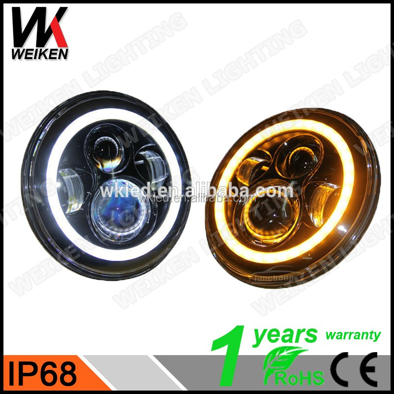 wholesale ip68 7 inch round jeep wrangler cheap led headlight with halo ring