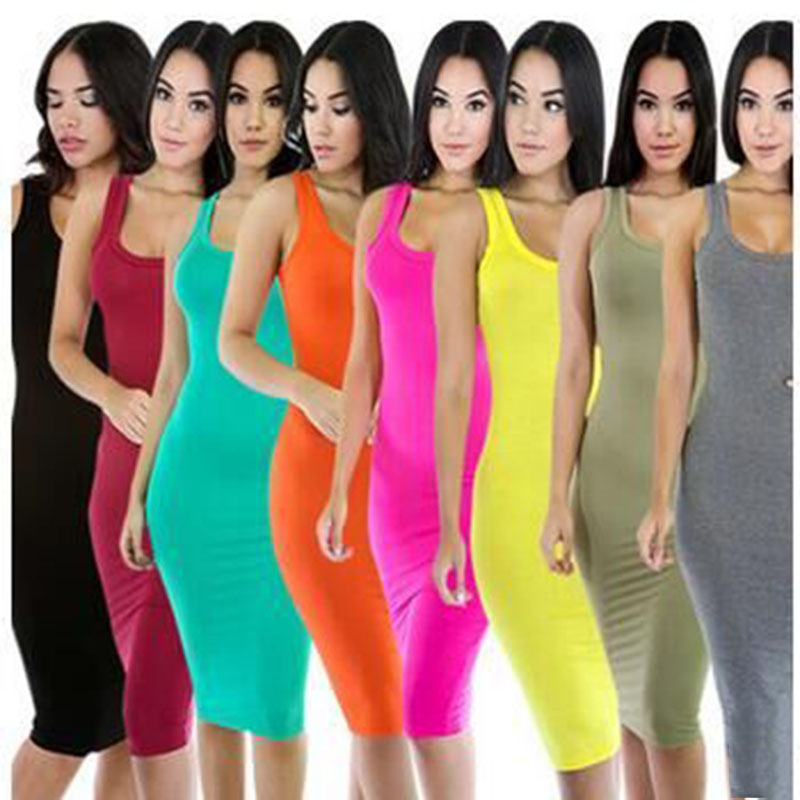 Summer women 's round neck slim cotton vest harness backing casual dress
