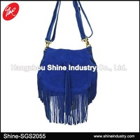 Fashion Blue Suede Fringe Bag