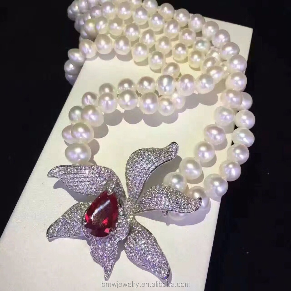Statement high quality shell pearl necklace jewelry chain pave rhinestone flower shape jewelry for women