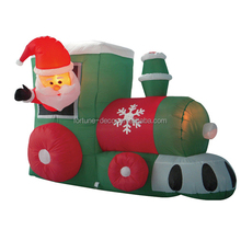 150cm/5ft polyester Christmas inflatable santa driving train air blown yard decoration