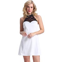 Summer new black neck lace designs women clothing black and white clothing