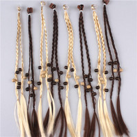 Kids braided hair extensions kids fake hair band hair ornaments decorated with beads