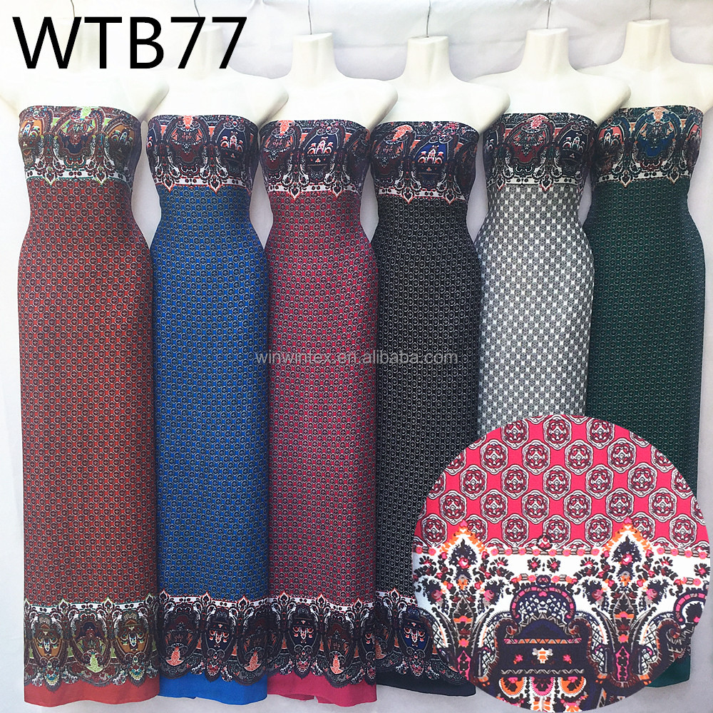 Saudi Arabic two border style 30S*68 100 viscose women dress fabric printed