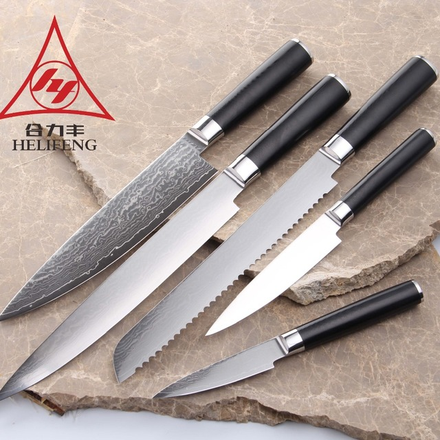 Damascus kitchen knife with high quality and G10 or Micarta handle