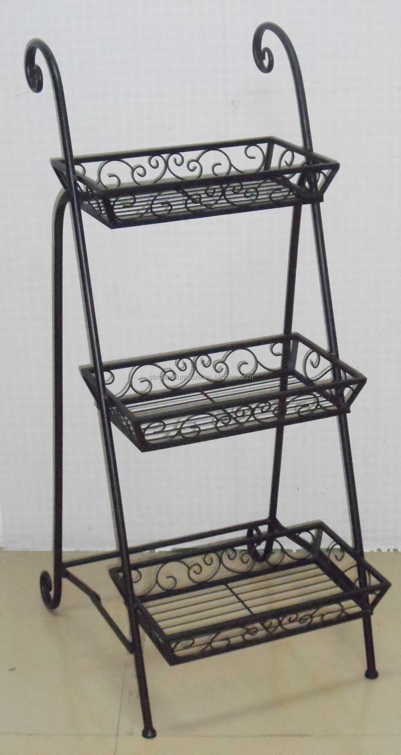 Wrought iron outdoor decor - Handmade Crafts Gift Home Garden Decor Metal Ornate 3 Basket Plant Holder Wrought Iron Flower Pot Stands Buy Flower Pot Stand Iron Flower Pot Stand