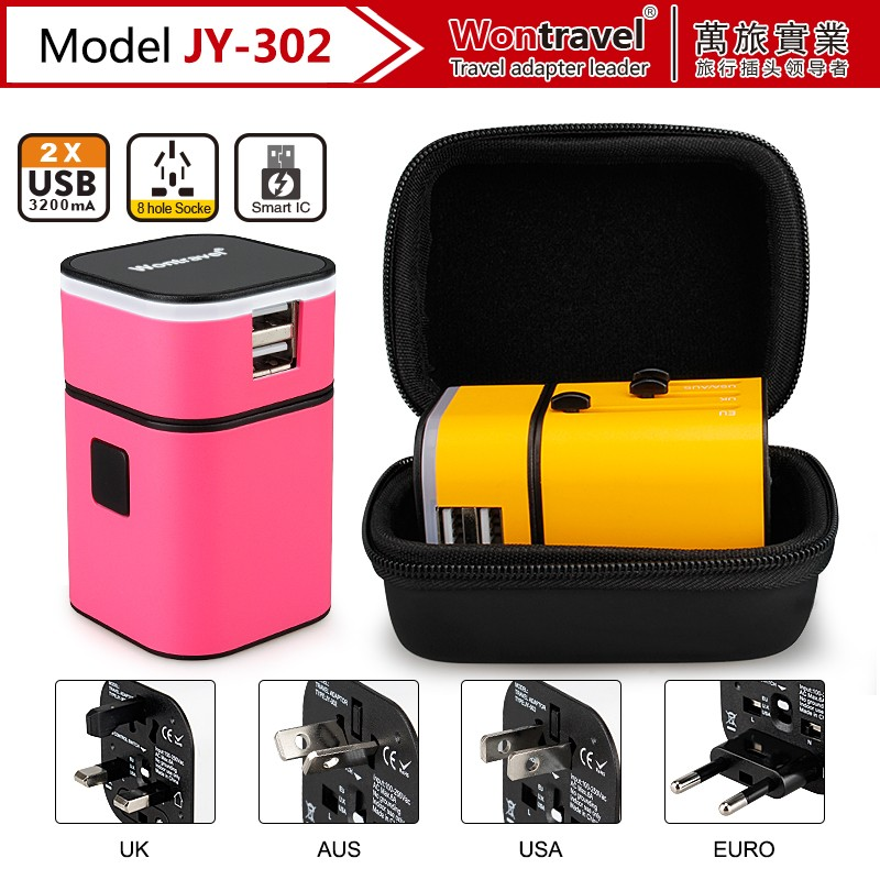 JY-302 digital product charger universal travel adapter as promotion gift,electronics gift,advertising gift for new market