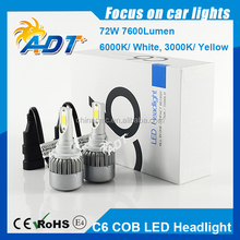 36W 3800LM 2017 Super Bright LED Headlight Kits H7 With 2 LED Chips 12V/24V DC 72W 7600LM High Power C6 H7 LED Headlight