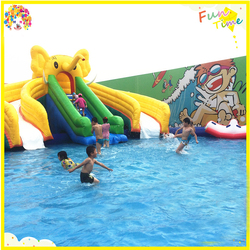 hot sell giant inflatable water slide with pool,children's games,wire basket slide
