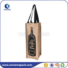 Recyclable Black Printing Jute Wine Carrier Tote Bag For Packing