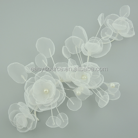 Handmade designed OEM wedding handcraft pearl lace bridal hair accessories