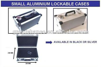 BLACK SILVER SMALL ALUMINIUM LOCKABLE TOOL CASE STORAGE BOX FLIGHTCASE