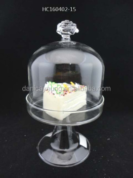 Handmade clear glass cake holder with a flower shape handle desktop decoration