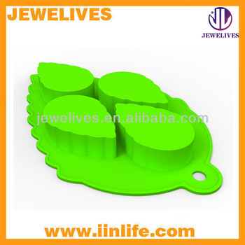 4 mint leaves tray silicone ice cube mold with hanging hole