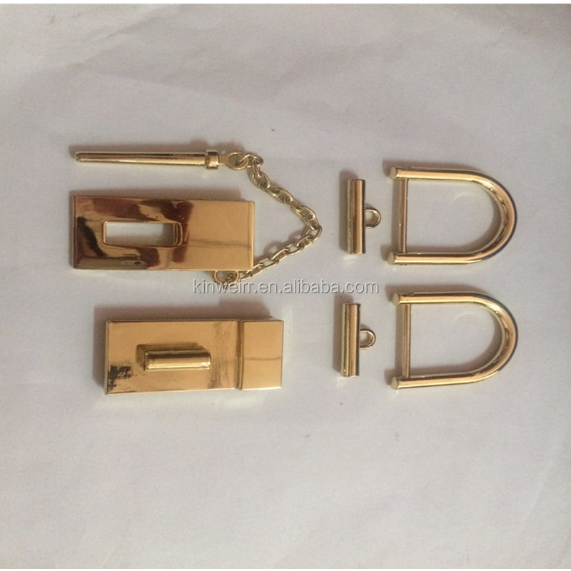 High quality metal decorate handbag metal snap turn lock