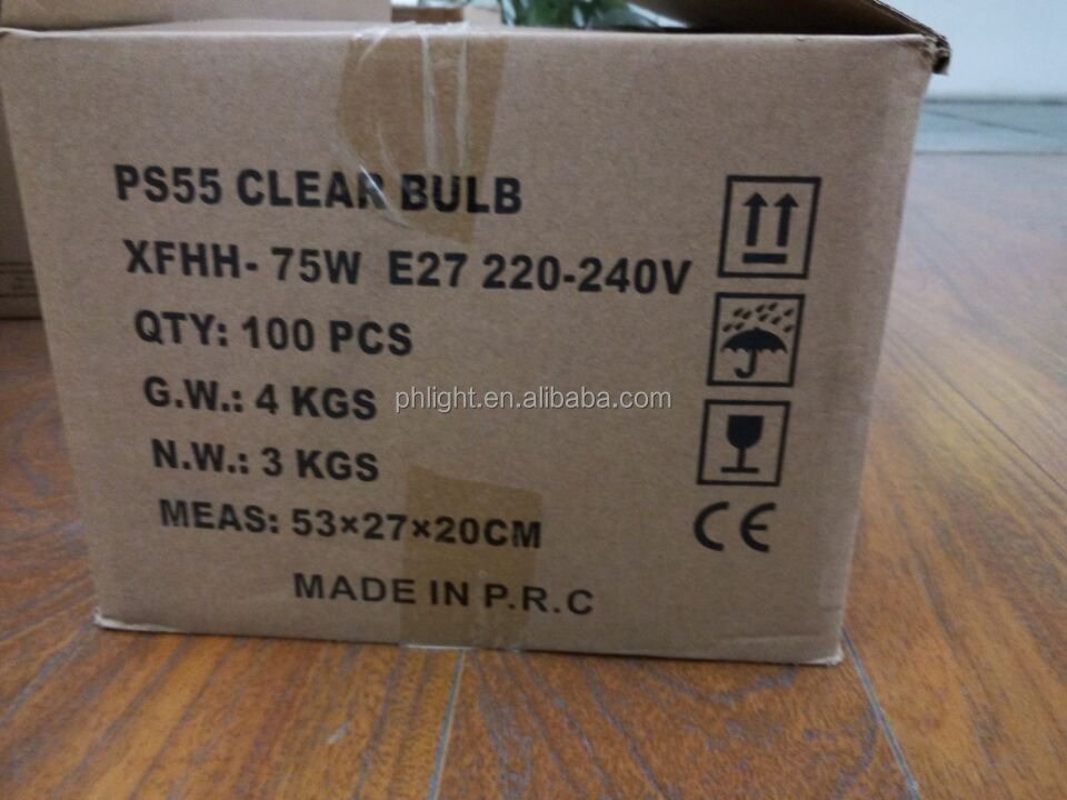 China Supplier 220V E27 A55 75W Clear bulb with stock price