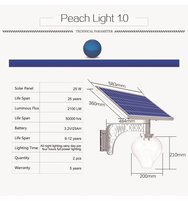 25 W Solar Panel Led Solar Garden Light All In One