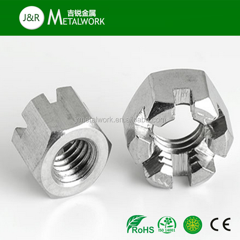 A2 A4 SS304 SS316 Stainless Steel Hexagon Slotted Nut Castle Nut DIN 935