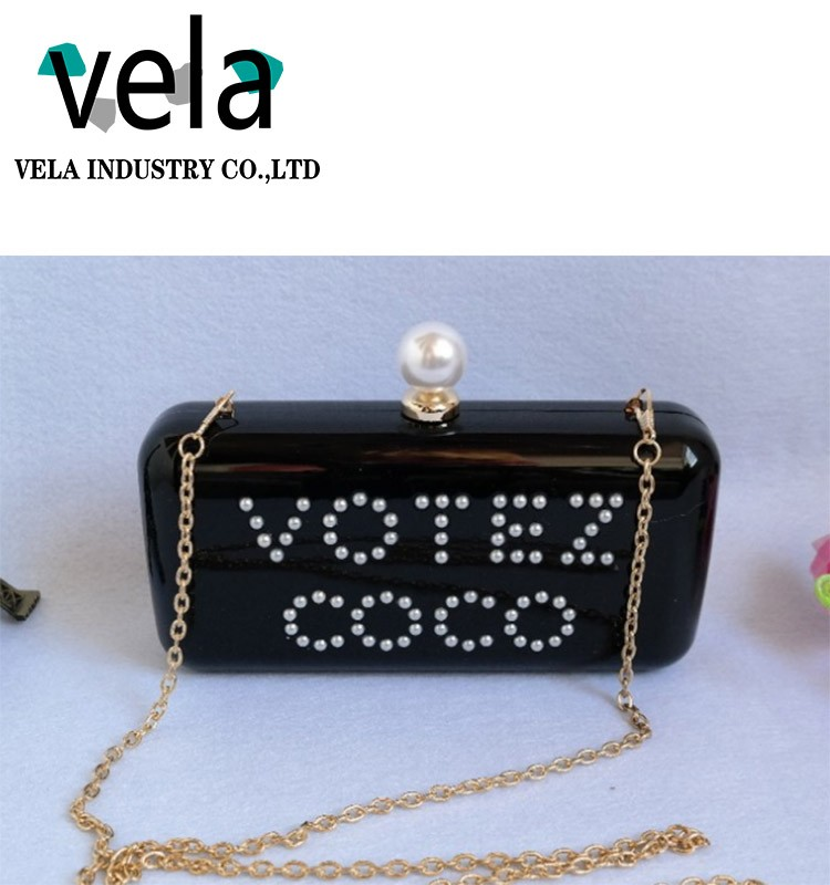 Latest Fashion English Letter Named Acrylic Clutches Of Evening Box Clutch Bag
