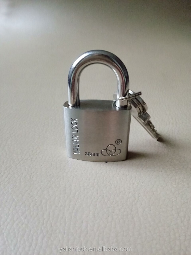 Small Round Corner Fashionable Stainless Steel Padlock With Brass keys
