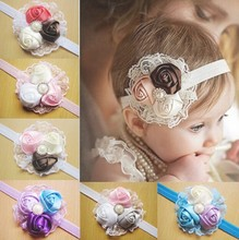 HOT SALE baby girls 0-3 years rose design lace headbands, moq is 10 pcs, can chooose colors