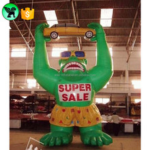 Big Giant Inflatable Gorilla Green Cartoon Customized For Car Advertising A470