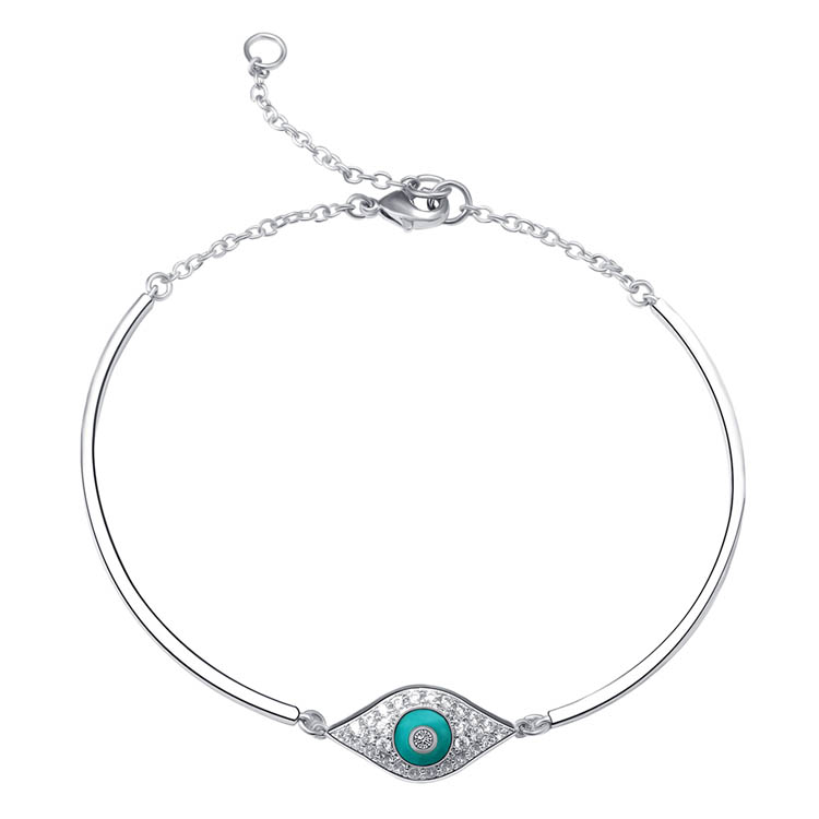 Wholesale women gift crystal cz cubic zirconia 925 sterling silver eye bracelet bangle
