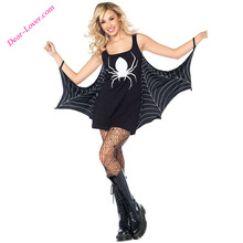 2017 Sex Black Jersey Dress Spiderweb Halloween Cosplay Costume