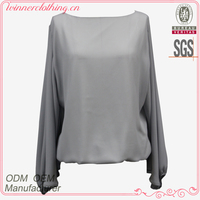 Fancy cut formal blouse batwing sleeve chiffon blouse 2016 for office lady