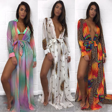 Beach Wear Long Dress Deep V slit bikini top skirt leopard print/color print chiffon dresshing Suit Bikini Cover Up Dress