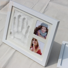 High quality White Wood photo frame Baby Handprint and Footprint Non Toxic and Safe Clay photo Frame for kids
