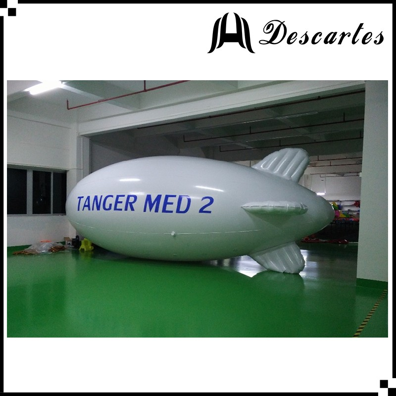 White large inflatable helium zeppelin, inflatable tethered blimp with Logo printing