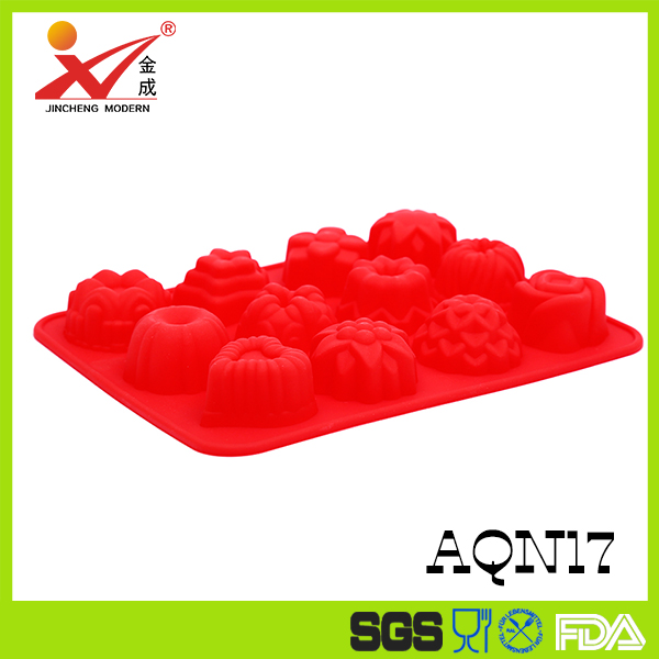 Hot 12 cavity flowers silicone non stick cake bread mold chocolate jelly candy baking mould