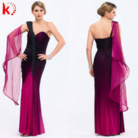 2014 new design fashion dress long evening dress patterns evening dress with sleeves purple lace