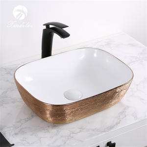 XDL-D1302H132 High-end white rose gold electroplate ceramic lavabo bathroom hand wash basin price