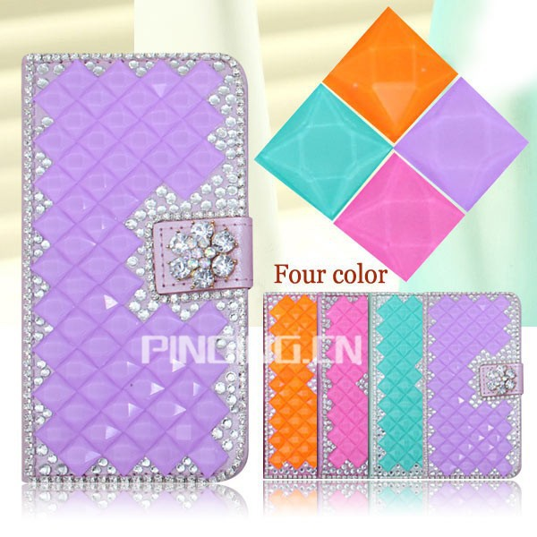 Elegant flip magnetic bling diamond PU leather cover case for ZTE Max+ N9521 Boost mobile