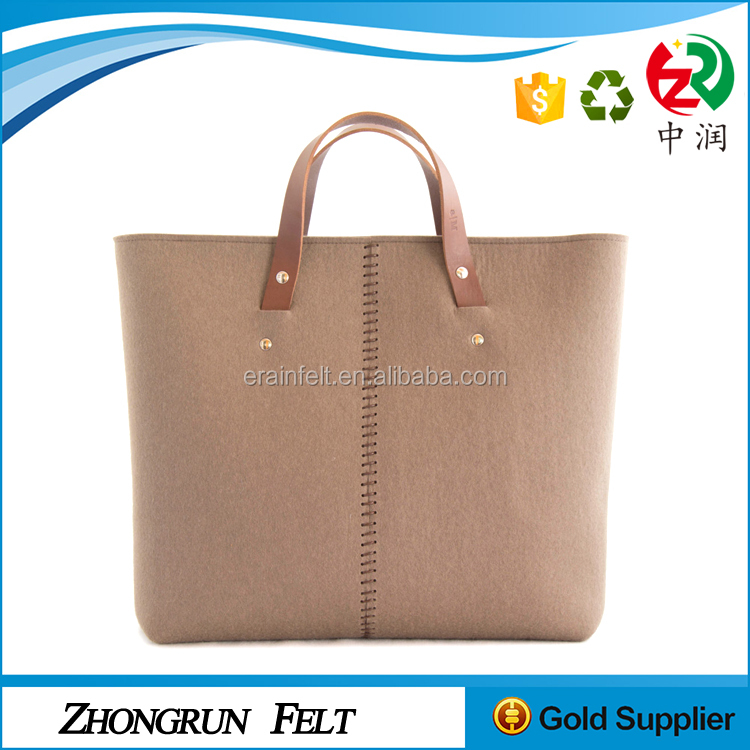 Cheap Price Durable Large Capacity Beautiful Ladies Felt Handbags With Leather Handle