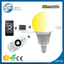 Mi light e14 5w wifi led bulb 2.4g wireless remote control warm/cool white lamp dimmable brightness adjustable